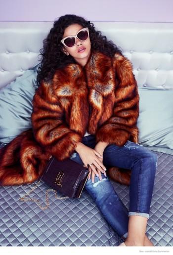 Stella Maxwell & Marina Nery in Furs, Denim for River Island Fall 2014 Ads