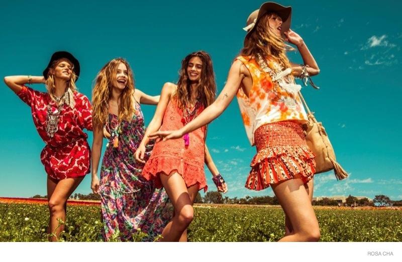 rosa cha festival style 2015 spring ad campaign09 Barbara Palvin, Erin Heatherton, Frida Gustavsson Wear Festival Style for Rosa Cha Spring 2015 Ads