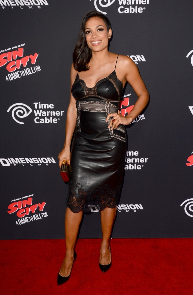Rosario Dawson donned a black leather Ermanno Scervino