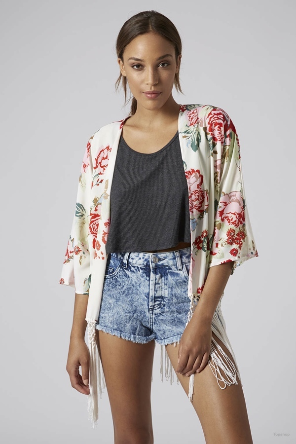 English Rose Fringe Kimono Cardigan available at Topshop for $96.00