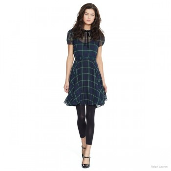 Polo Ralph Lauren Silk Georgette Tartan Dress available at Ralph Lauren for $498.00
