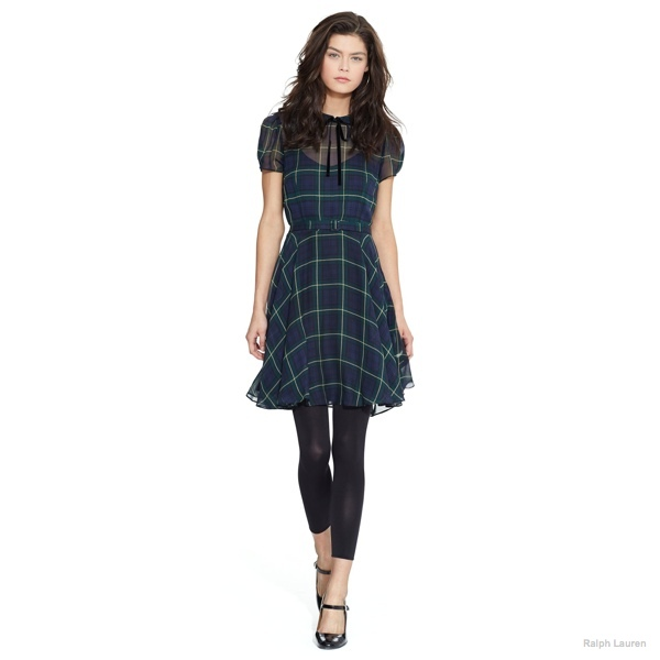 silk georgette tartan dress polo ralph lauren New Arrivals: Polo Ralph Lauren Fall 2014 Collection of Dresses & Coats