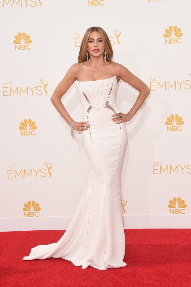 Sofia Vergara in white Roberto Cavalli gown