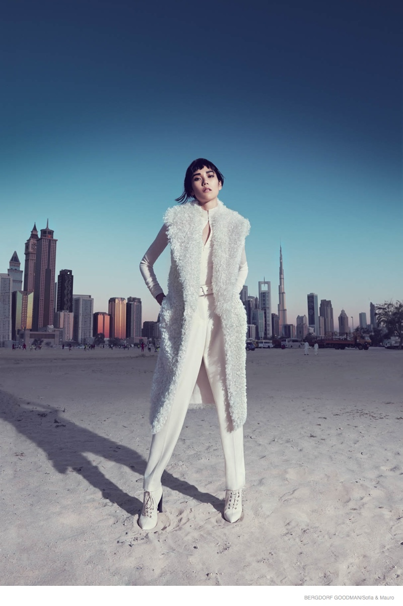 Tao Okamoto Wears Sleek & Modern Style for Bergdorf Goodman's Fall Catalogue