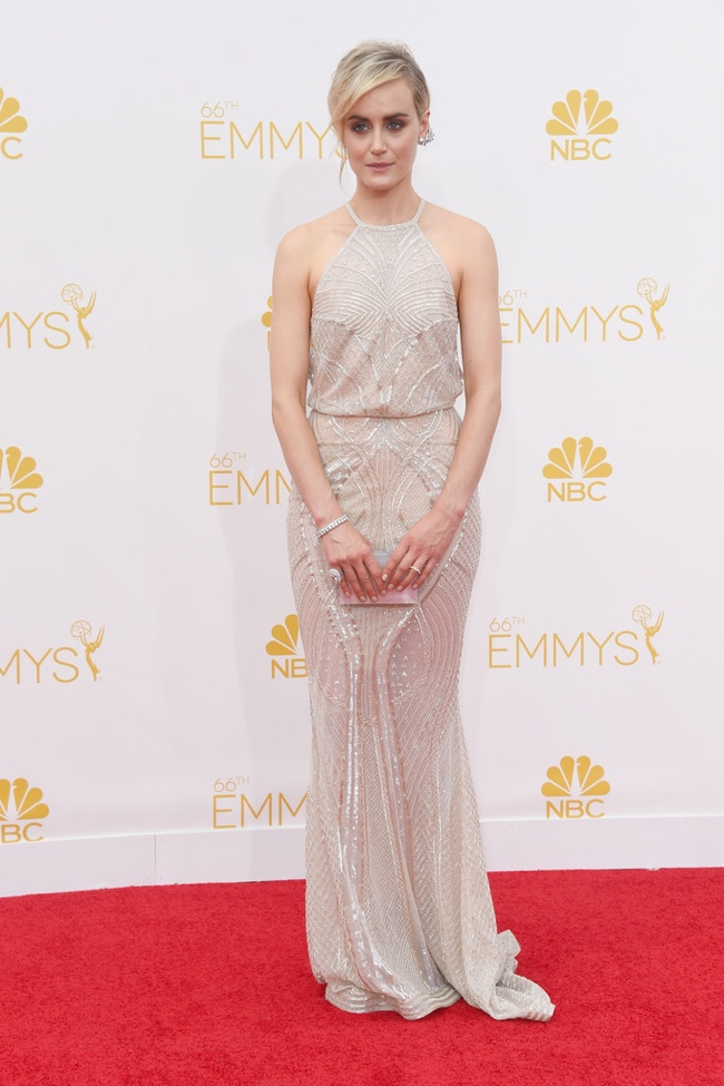 Taylor Schilling wore a silver Zuhair Murad gown