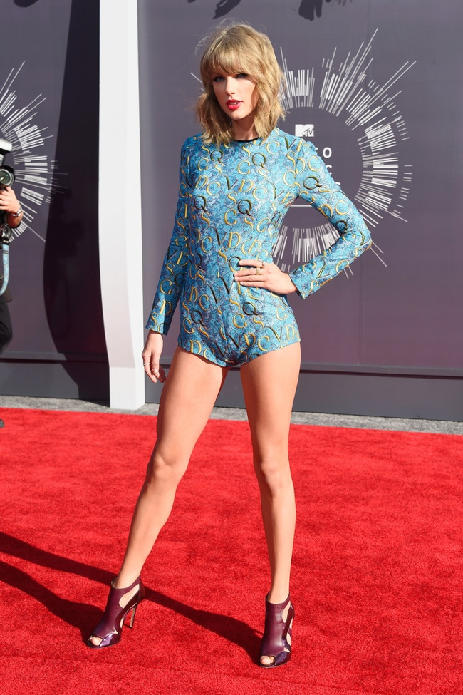 Taylor Swift rocks Mary Katrantzou bodysuit in blue