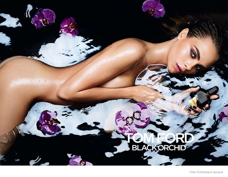 Cara Delevingne in Tom Ford's 'Black Orchid' Fragrance campaign. The image was banned in the UK for being too close to a school.
