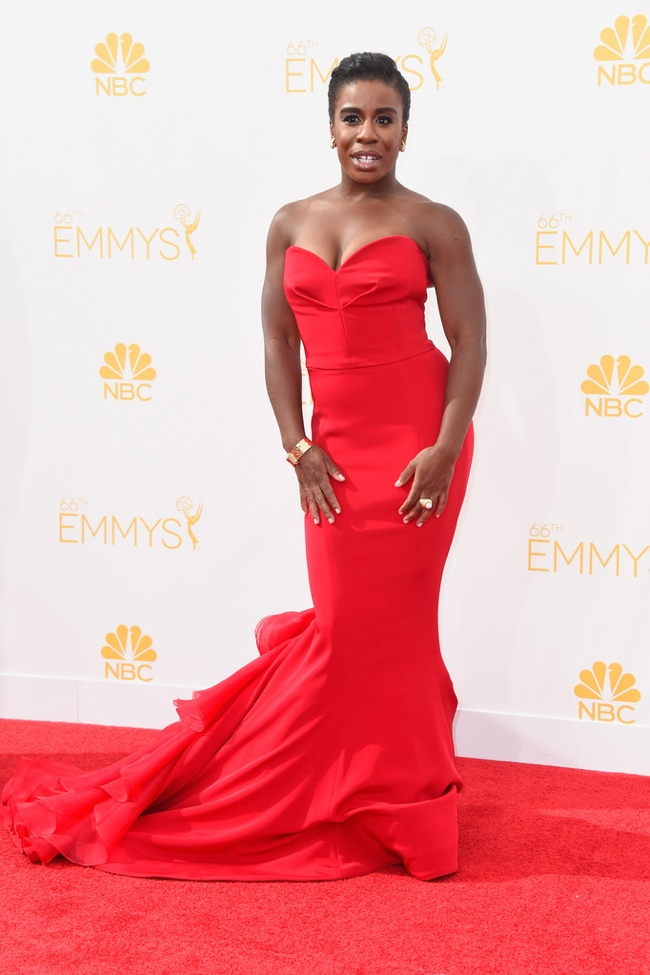 uzo aduba christian siriano red dress emmys 2014 Emmys Red Carpet Style