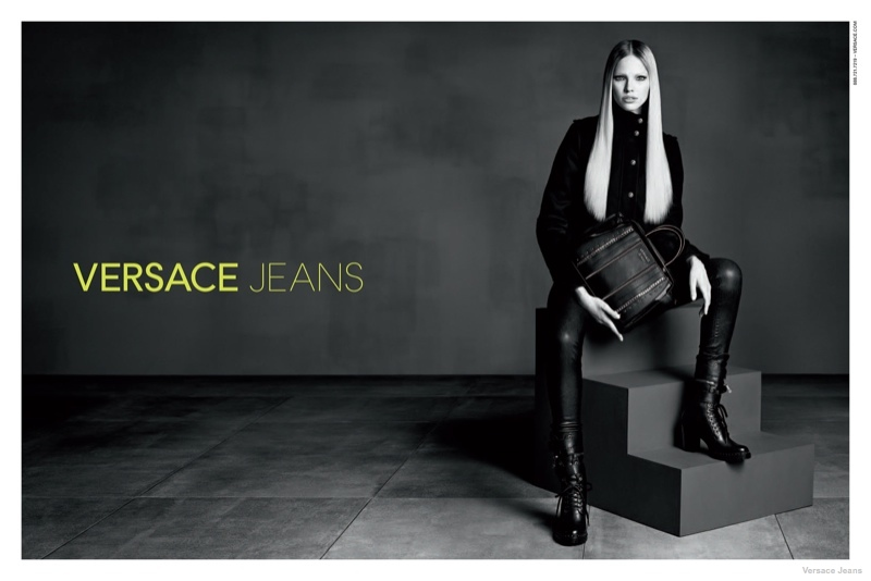 versace jeans leather styles 2014 fall01 Sasha Luss in Leather + Denim for Versace Jeans Fall 2014 Ads