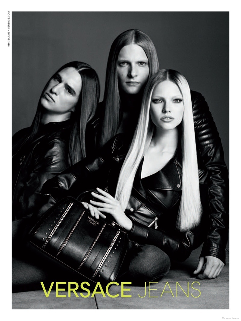 versace jeans leather styles 2014 fall02 Sasha Luss in Leather + Denim for Versace Jeans Fall 2014 Ads