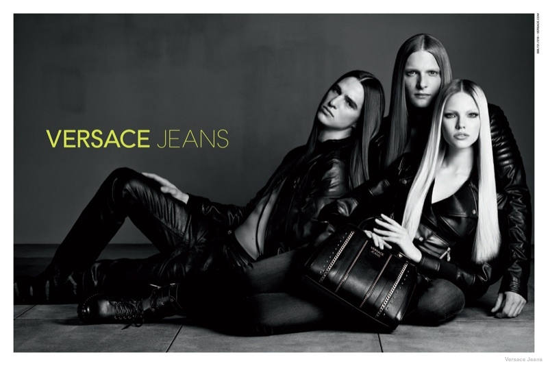 versace jeans leather styles 2014 fall03 Sasha Luss in Leather + Denim for Versace Jeans Fall 2014 Ads