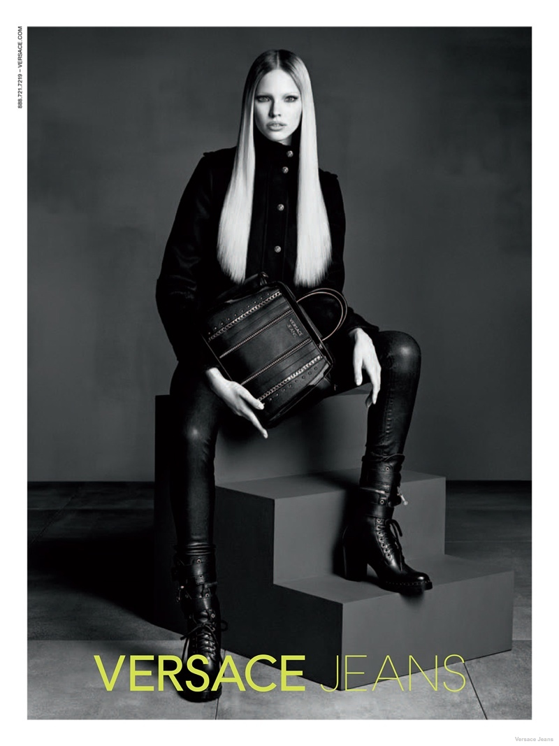 versace jeans leather styles 2014 fall04 Sasha Luss in Leather + Denim for Versace Jeans Fall 2014 Ads