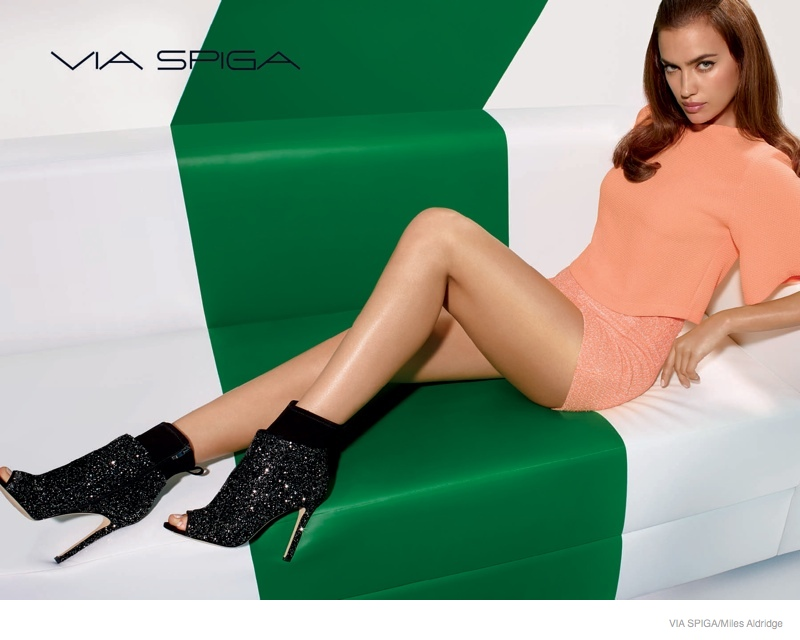 via spiga shoes 2014 fall campaign01 Irina Shayk Shows Off Her Legs in Via Spiga Fall 2014 Ads