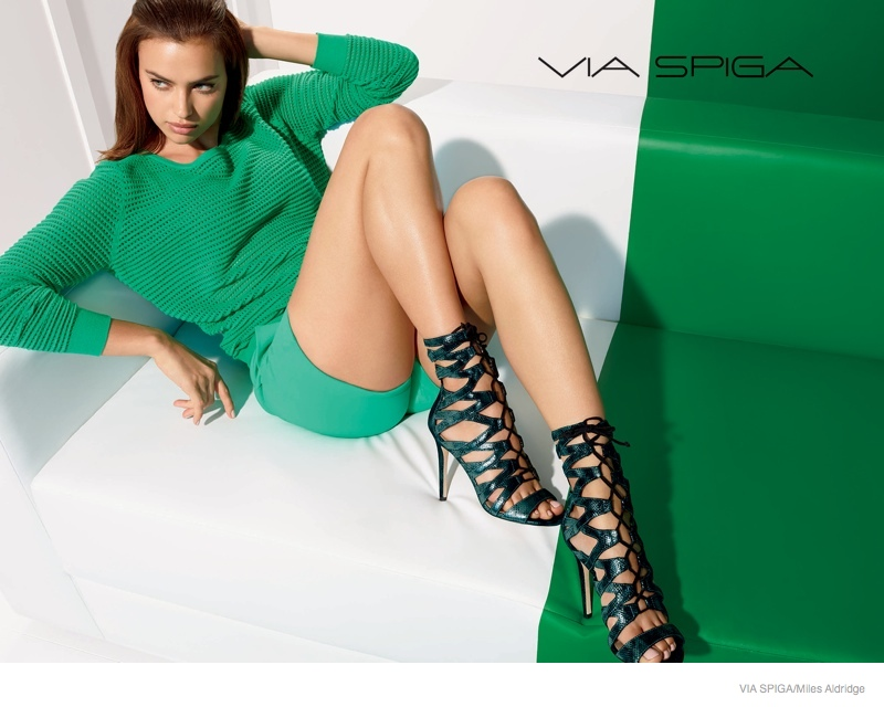 via spiga shoes 2014 fall campaign02 Irina Shayk Shows Off Her Legs in Via Spiga Fall 2014 Ads