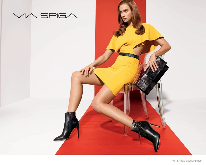 via spiga shoes 2014 fall campaign04 Irina Shayk Shows Off Her Legs in Via Spiga Fall 2014 Ads
