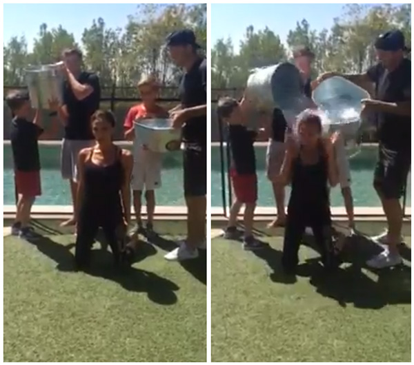 Victoria Beckham Does the Ice Bucket Challenge with the Help of Her Kids