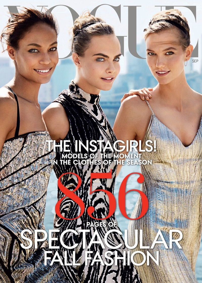 vogue us september 2014 cover models01 See the Full Vogue September 2014 Cover with Karlie, Cara, Joan & More