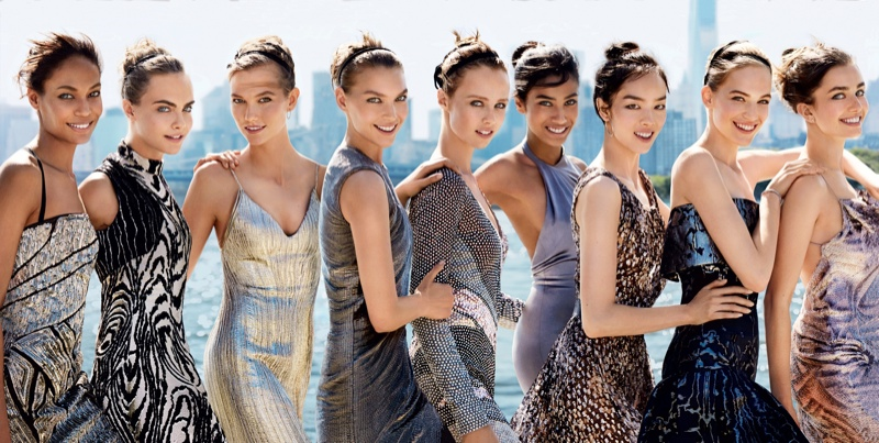 vogue us september 2014 cover models02 See the Full Vogue September 2014 Cover with Karlie, Cara, Joan & More