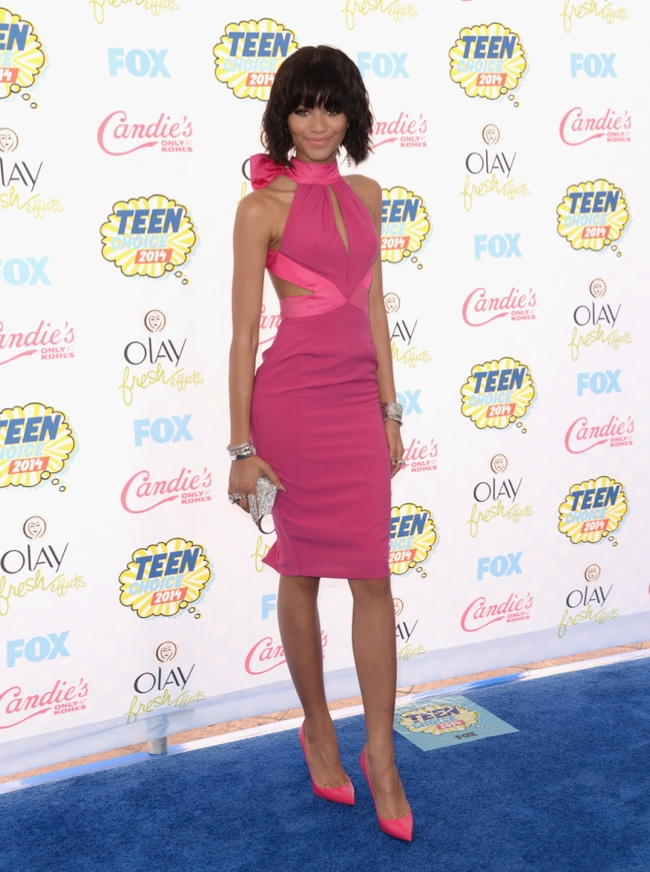 Zendaya Coleman wears a pink cut-out dress from Material Girl