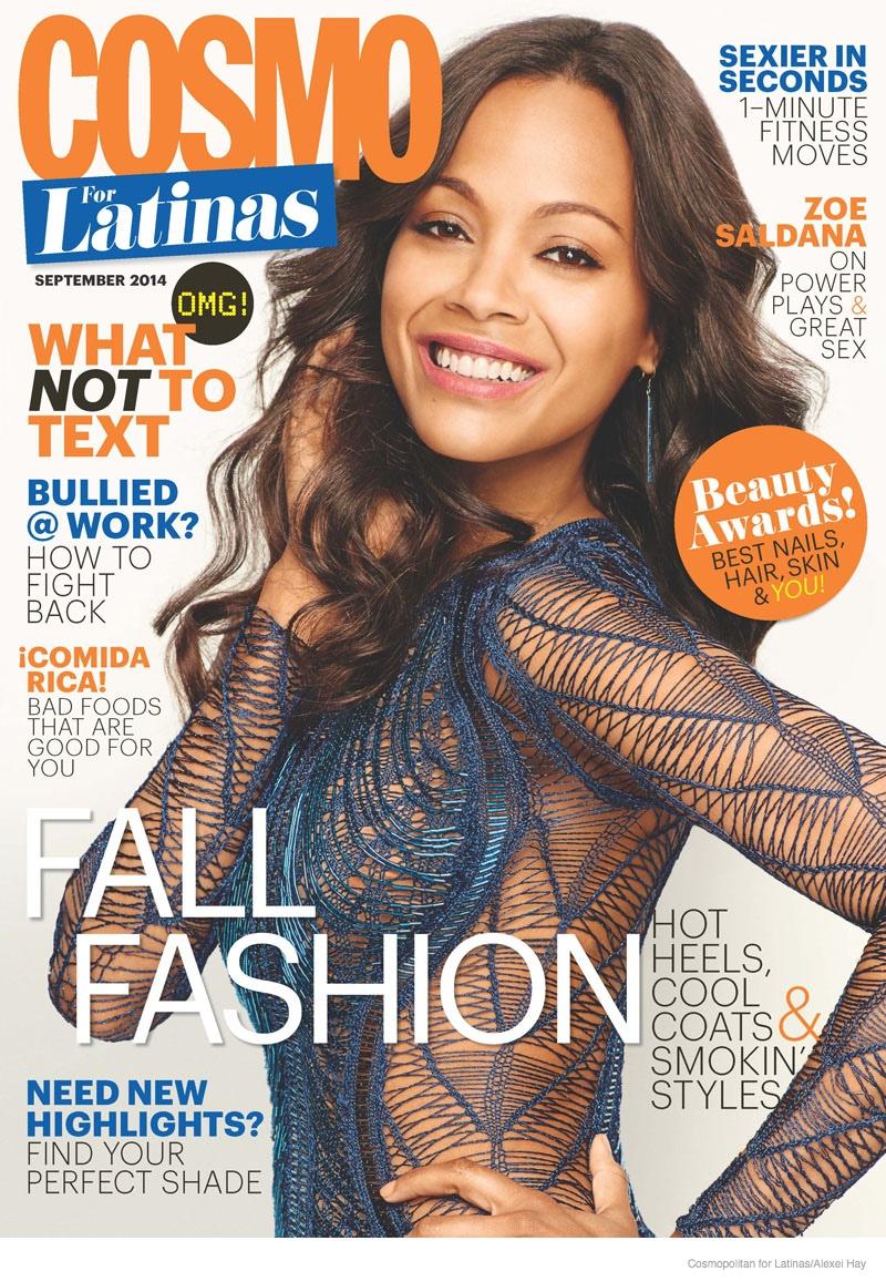 zoe saldana futuristic style cosmo cover Zoe Saldana Rocks Futuristic Style in Cosmopolitan for Latinas Cover Shoot