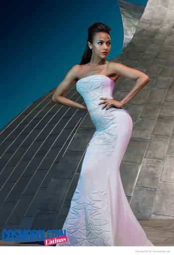 Zoe Saldana Rocks Futuristic Style in Cosmopolitan for Latinas Cover Shoot