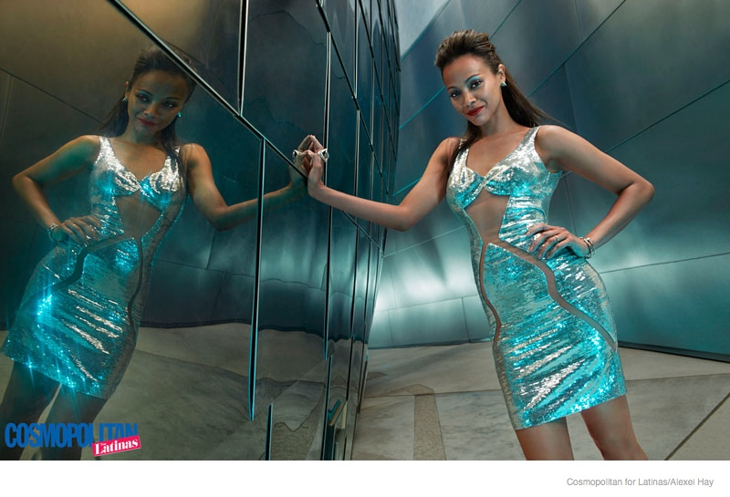 zoe saldana futuristic style2 Zoe Saldana Rocks Futuristic Style in Cosmopolitan for Latinas Cover Shoot