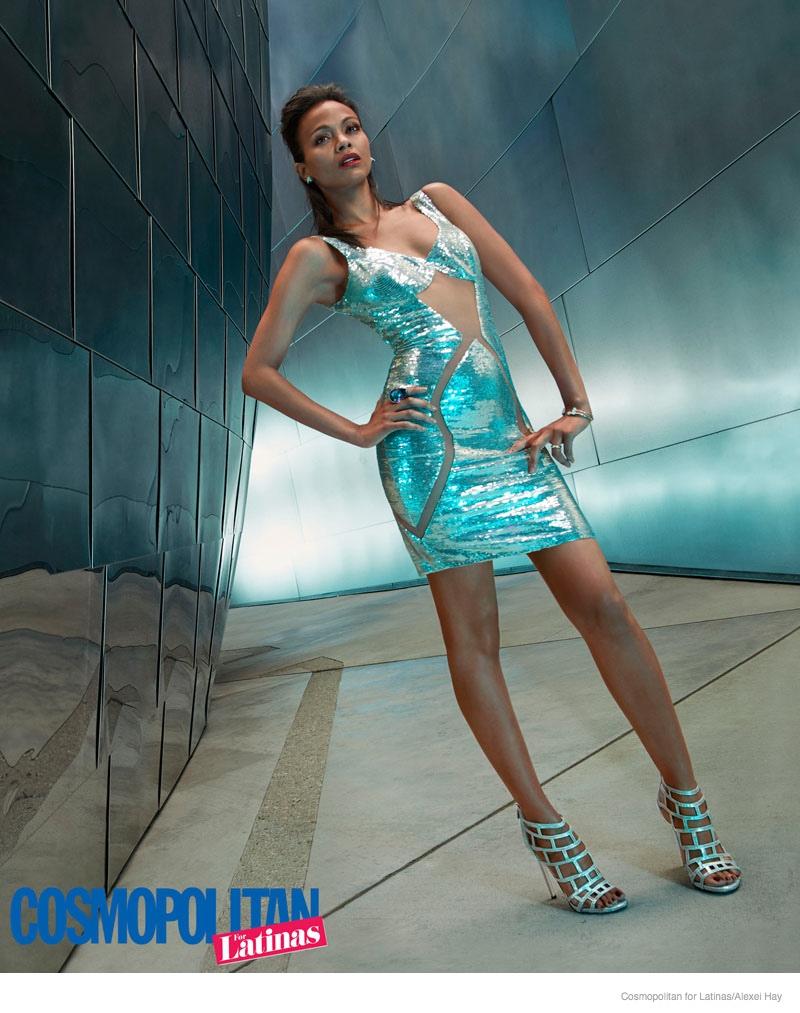 zoe saldana futuristic style3 Zoe Saldana Rocks Futuristic Style in Cosmopolitan for Latinas Cover Shoot
