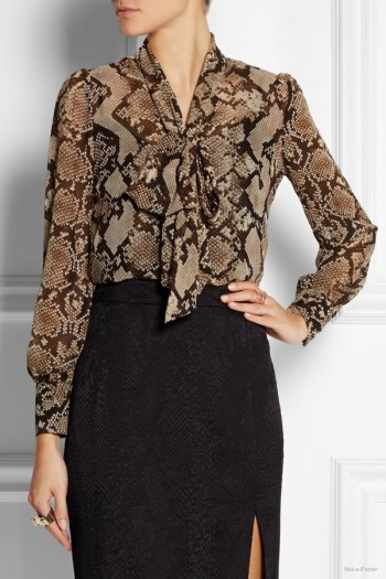 Altuzarra for Target Python-print georgette pussy-bow blouse available at Net-a-Porter for $34.99