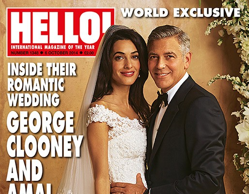 Amal Alamuddin & George Clooney Wedding Photo on Hello! Magazine Cover