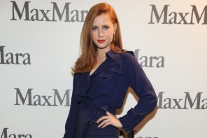 Amy Adams Wears Blue Max Mara Dress at Milan Fashion Week