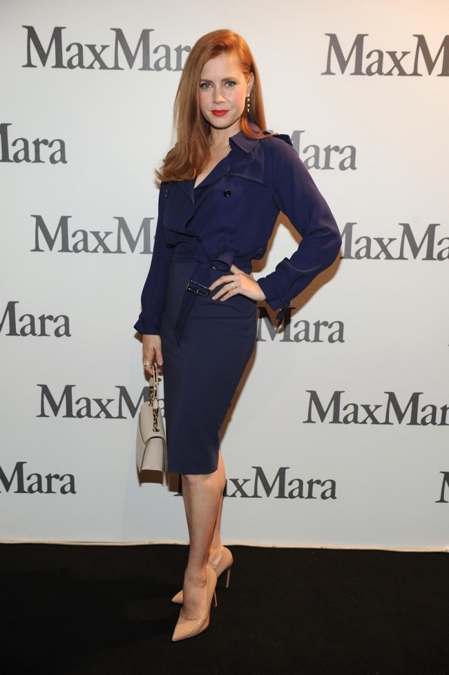 Amy Adams Wears Blue Max Mara Dress at Milan Fashion Week