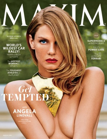 Angela Lindvall Flaunts Cleavage on Maxim's October 2014 Cover