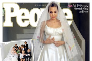 See Angelina Jolie's Wedding Dress Decorated by Her Children