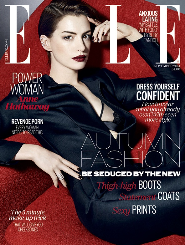 Anne Hathaway Seduces on ELLE UK November 2014 Cover