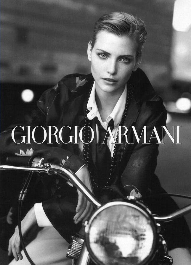 tbt nadja auermann is perfection in armani�s fall 1996