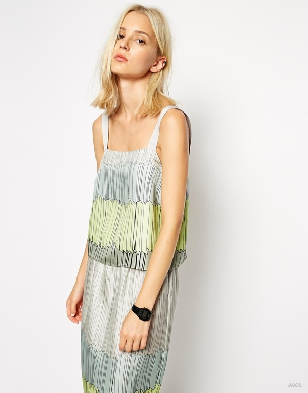 ASOS WHITE Silk Cami in Trompe L'Oeil Print available at ASOS for $76.17