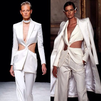 (L) Look from Balmain's Spring 2015 Collection (R) Look from Givenchy Couture Spring 2015. Image: Instagram/vfiles