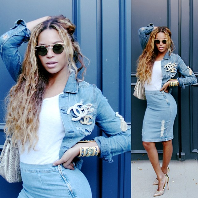 Beyonce wears denim look with Chanel embellishments
