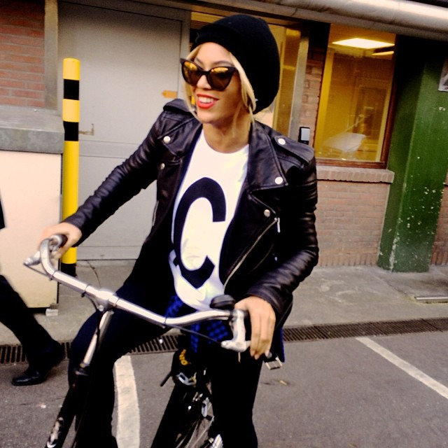Beyonce wears leather jacket, Chanel shirt and aht