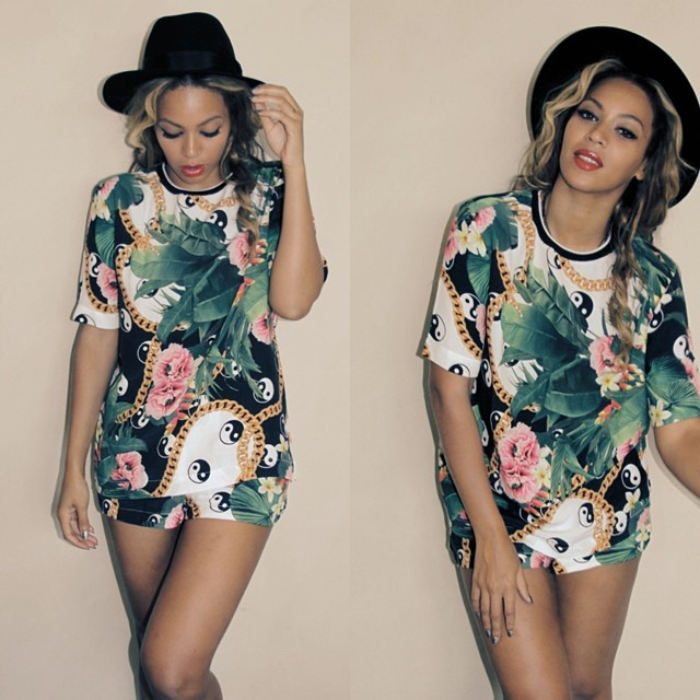 Beyonce wears printed shorts look
