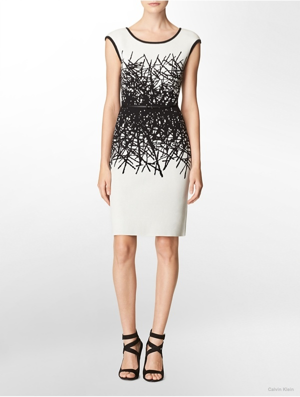 Black & White Patterned Sweater Dress available at Calvin Klein for $134.00