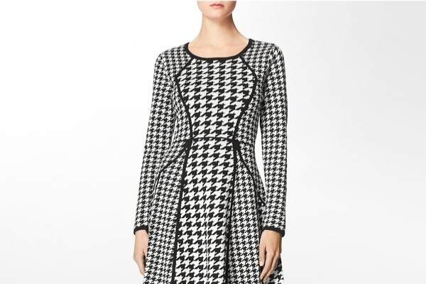 Houndstooth Long-sleeve Sweater Dress available at Calvin Klein for $134.00