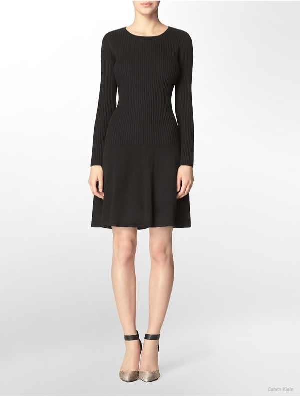 Rib Knit Long Sleeve Sweater Dress available at Calvin Klein for $134.00