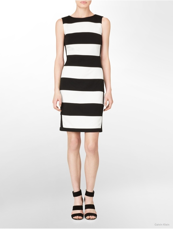 Striped Sleeveless Sheath Dress available at Calvin Klein for $134.00