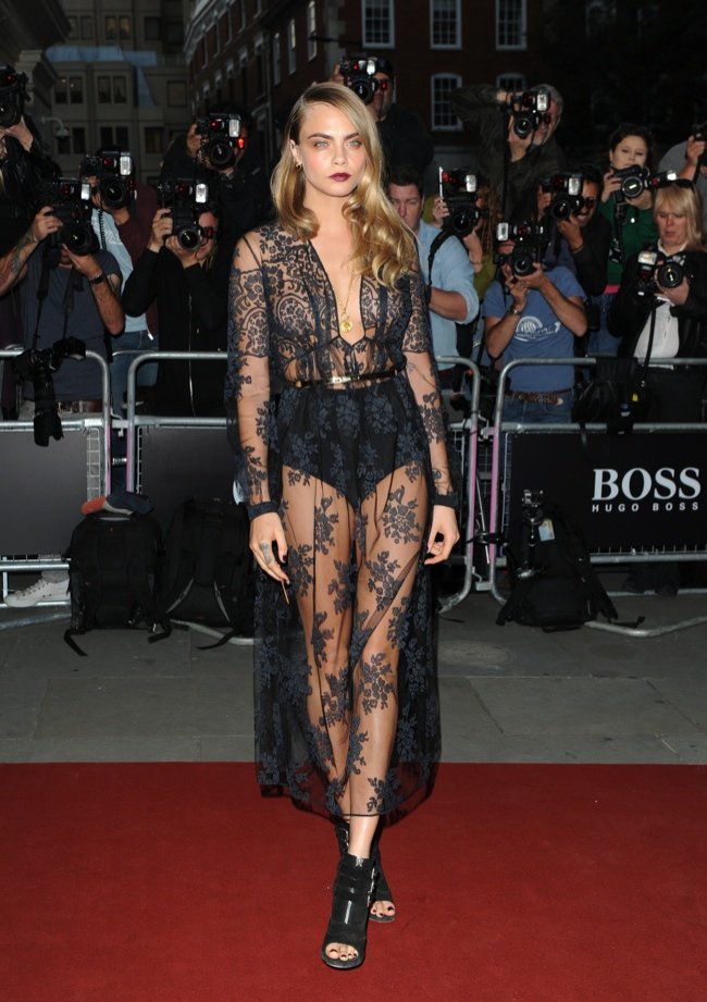 Cara Delevingne wears sheer Burberry dress