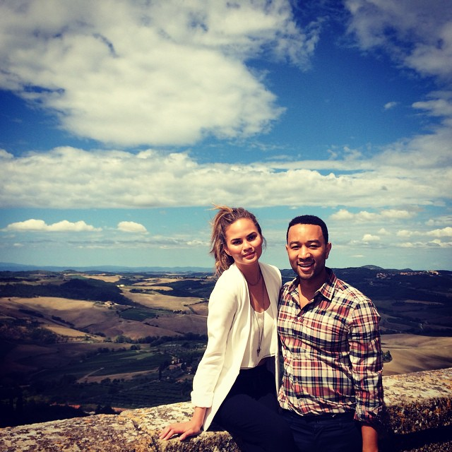Chrissy Teigen and her husband John Legend in Tuscany