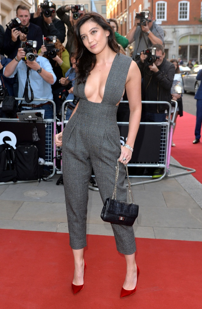 Daisy Lowe spotted in a grey Barbara Casasola Jumpsuit