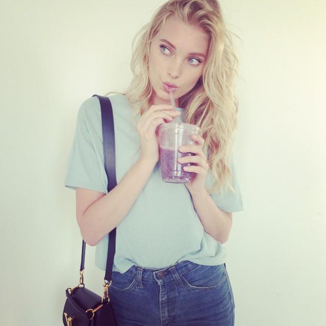 Elsa Hosk takes a drink