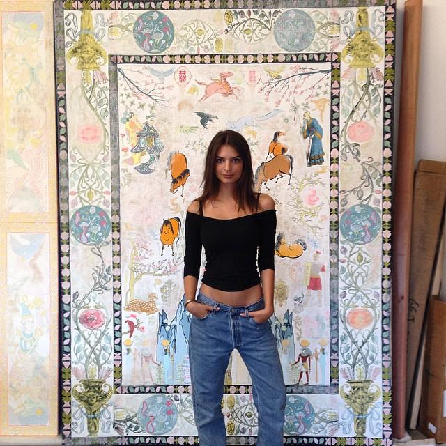 Emily Ratjkowski rocks a denim look