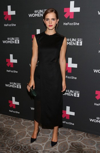 Emma Watson Wears Black Hugo Boss Dress at UN Women's Event
